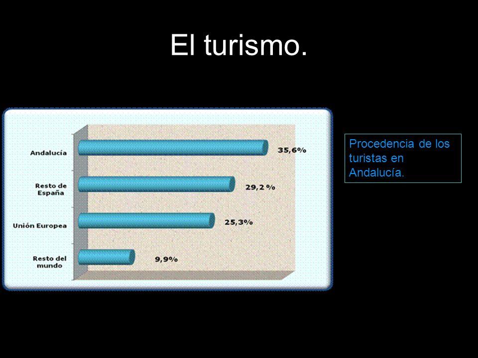 El turismo. Procedencia de los turistas en Andalucía.