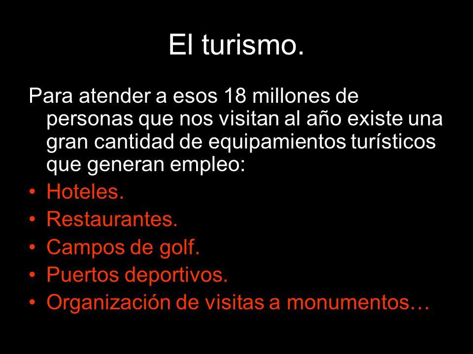 El turismo. Para atender a esos 18 millones de personas que nos visitan al año existe una gran cantidad de equipamientos turísticos que generan empleo