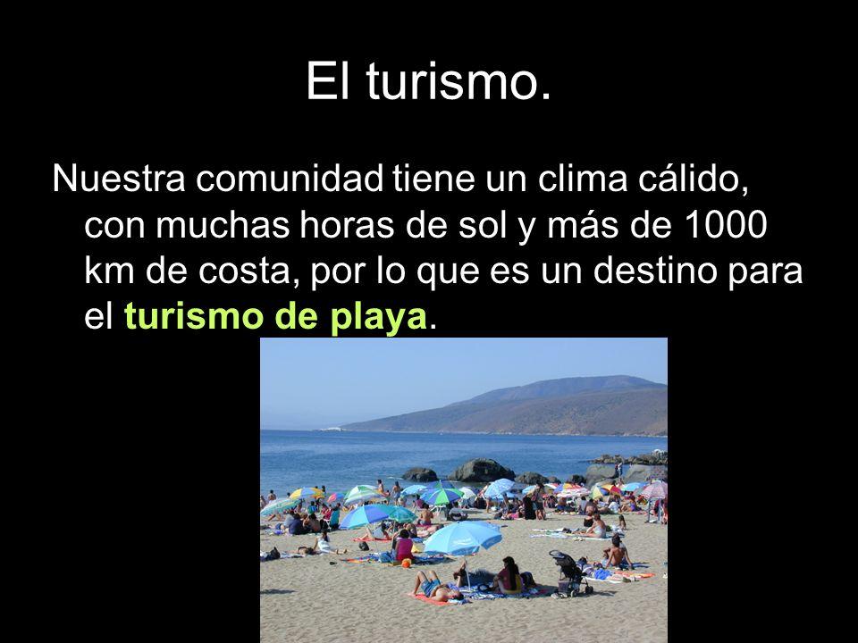 Nuestra comunidad tiene un clima cálido, con muchas horas de sol y más de 1000 km de costa, por lo que es un destino para el turismo de playa.