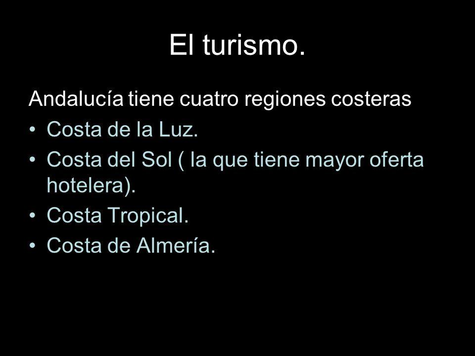 El turismo. Andalucía tiene cuatro regiones costeras: Costa de la Luz. Costa del Sol ( la que tiene mayor oferta hotelera). Costa Tropical. Costa de A