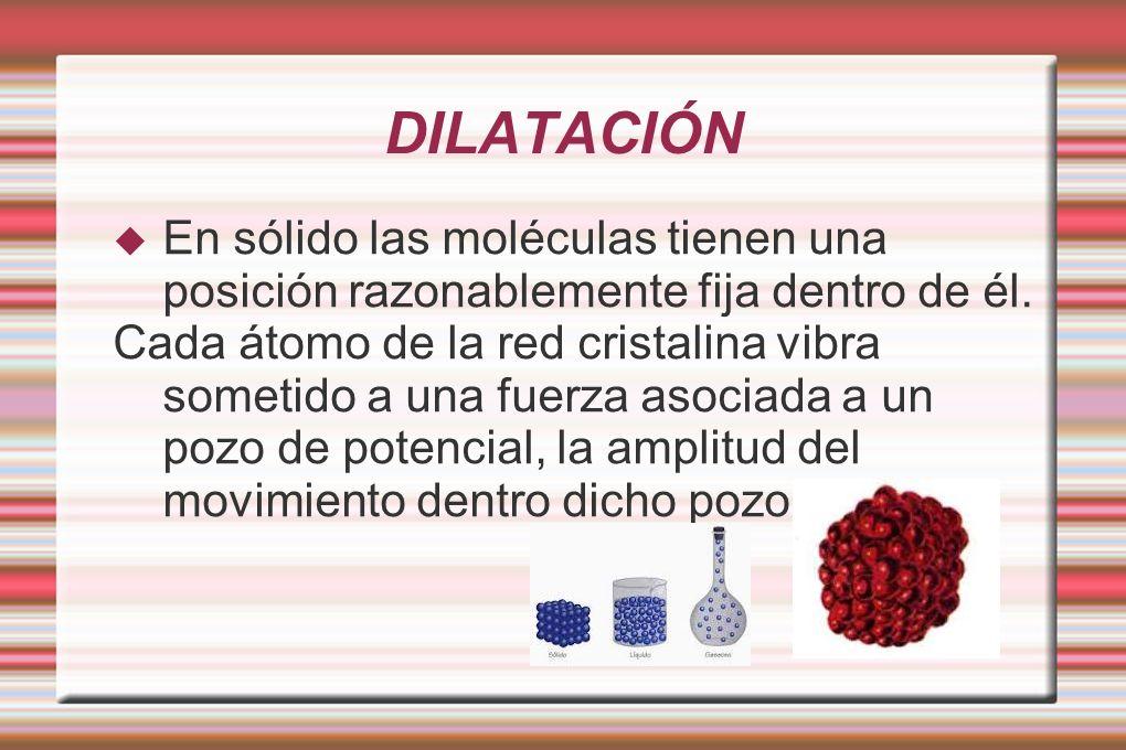 DILATACIÓN En sólido las moléculas tienen una posición razonablemente fija dentro de él. Cada átomo de la red cristalina vibra sometido a una fuerza a
