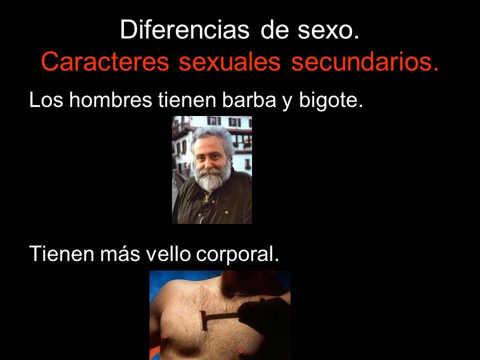 Diferencias de sexo. Caracteres sexuales secundarios. Los hombres tienen barba y bigote. Tienen más vello corporal.
