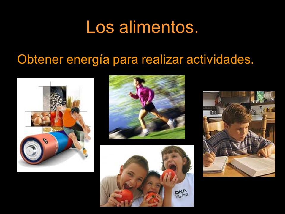 Los alimentos. Obtener energía para realizar actividades.