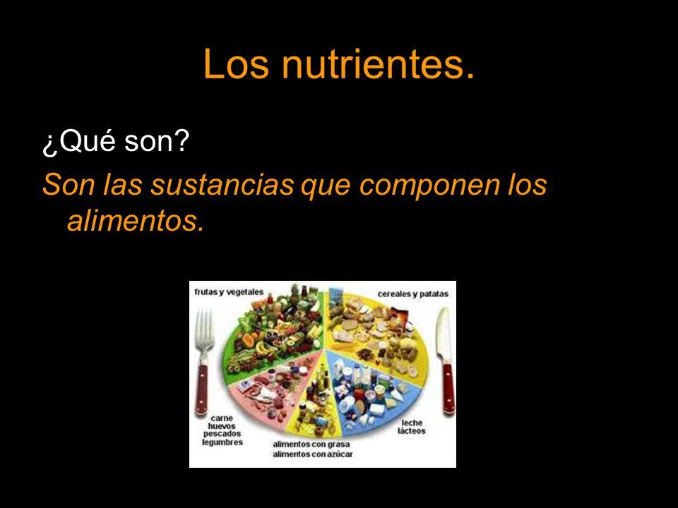 Los nutrientes. ¿Qué son? Son las sustancias que componen los alimentos.