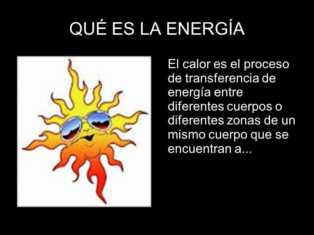 QUÉ ES LA ENERGÍA El calor es el proceso de transferencia de energía entre diferentes cuerpos o diferentes zonas de un mismo cuerpo que se encuentran