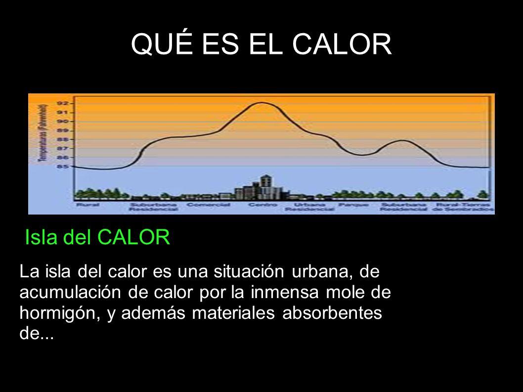 QUÉ ES EL CALOR Isla del CALOR La isla del calor es una situación urbana, de acumulación de calor por la inmensa mole de hormigón, y además materiales