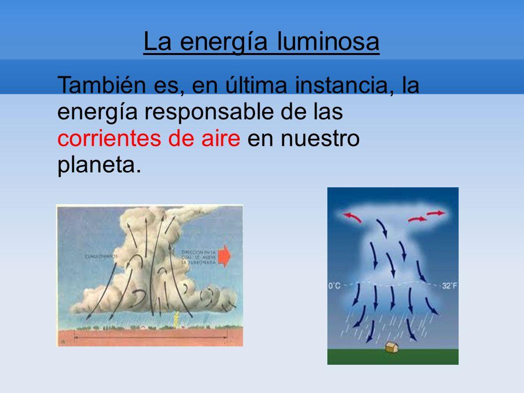 También es, en última instancia, la energía responsable de las corrientes de aire en nuestro planeta. La energía luminosa