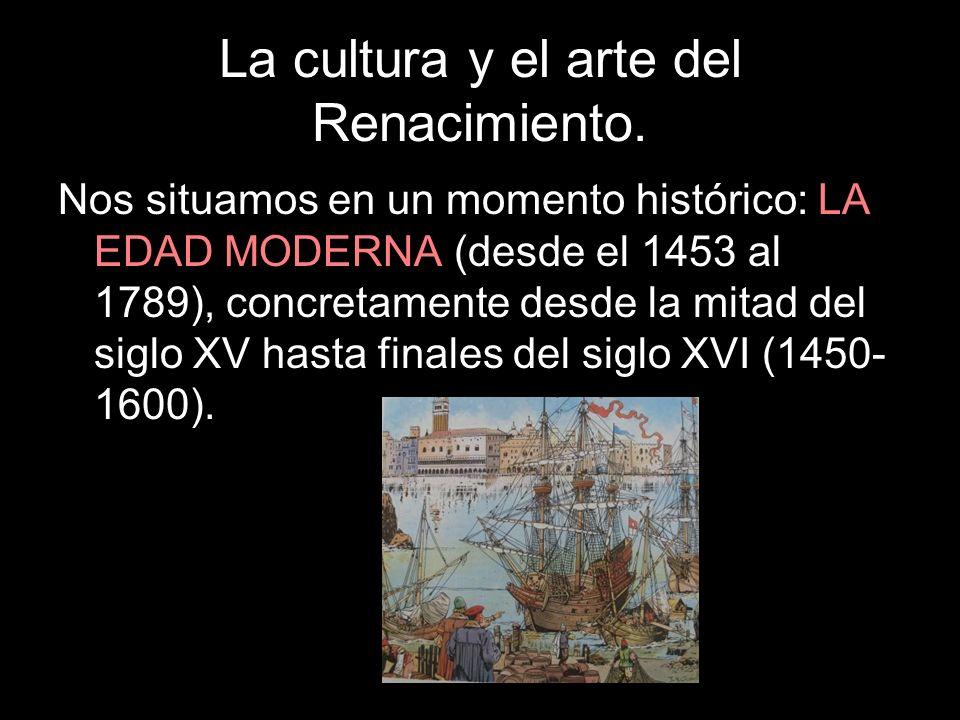Nos situamos en un momento histórico: LA EDAD MODERNA (desde el 1453 al 1789), concretamente desde la mitad del siglo XV hasta finales del siglo XVI (