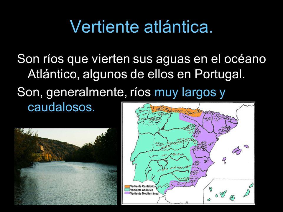 Vertiente atlántica. Son ríos que vierten sus aguas en el océano Atlántico, algunos de ellos en Portugal. Son, generalmente, ríos muy largos y caudalo