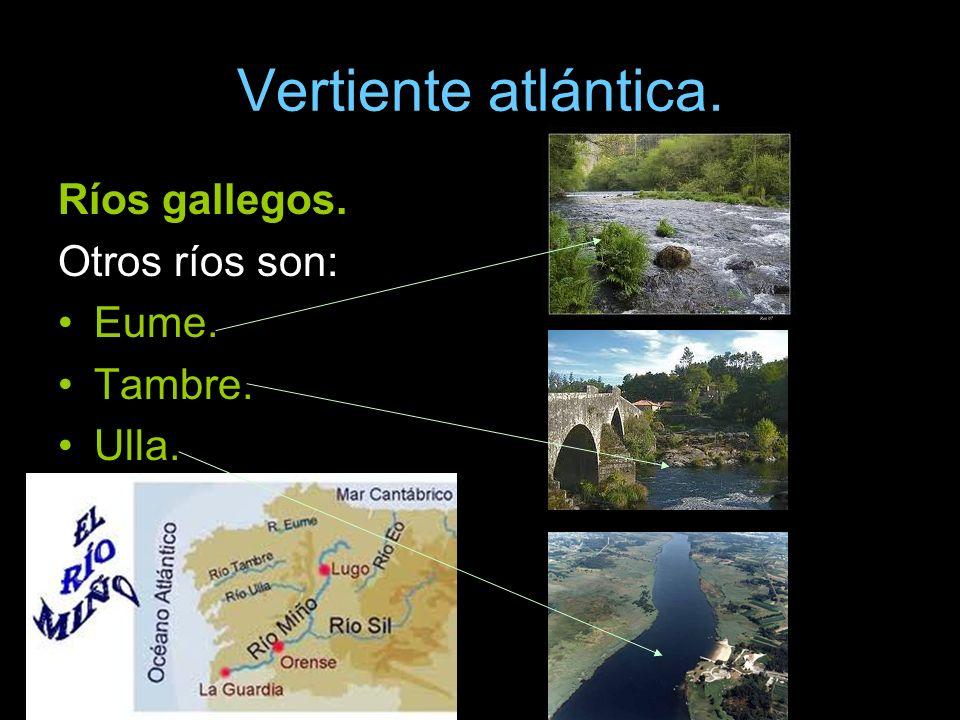 Vertiente atlántica. Ríos gallegos. Otros ríos son: Eume. Tambre. Ulla.