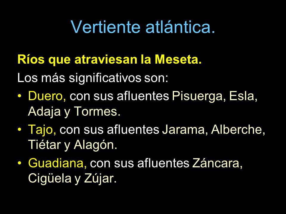Ríos que atraviesan la Meseta. Los más significativos son: Duero, con sus afluentes Pisuerga, Esla, Adaja y Tormes. Tajo, con sus afluentes Jarama, Al