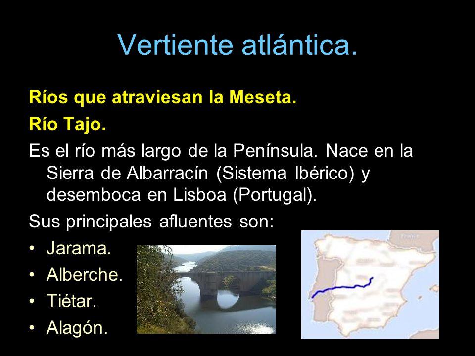 Vertiente atlántica. Ríos que atraviesan la Meseta. Río Tajo. Es el río más largo de la Península. Nace en la Sierra de Albarracín (Sistema Ibérico) y