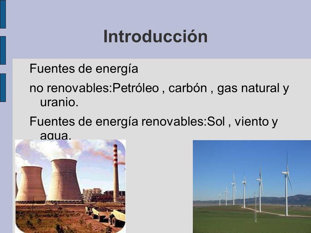 Introducción Fuentes de energía no renovables:Petróleo, carbón, gas natural y uranio. Fuentes de energía renovables:Sol, viento y agua.