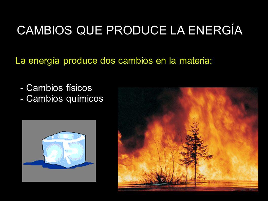 CAMBIOS QUE PRODUCE LA ENERGÍA La energía produce dos cambios en la materia: - Cambios físicos - Cambios químicos