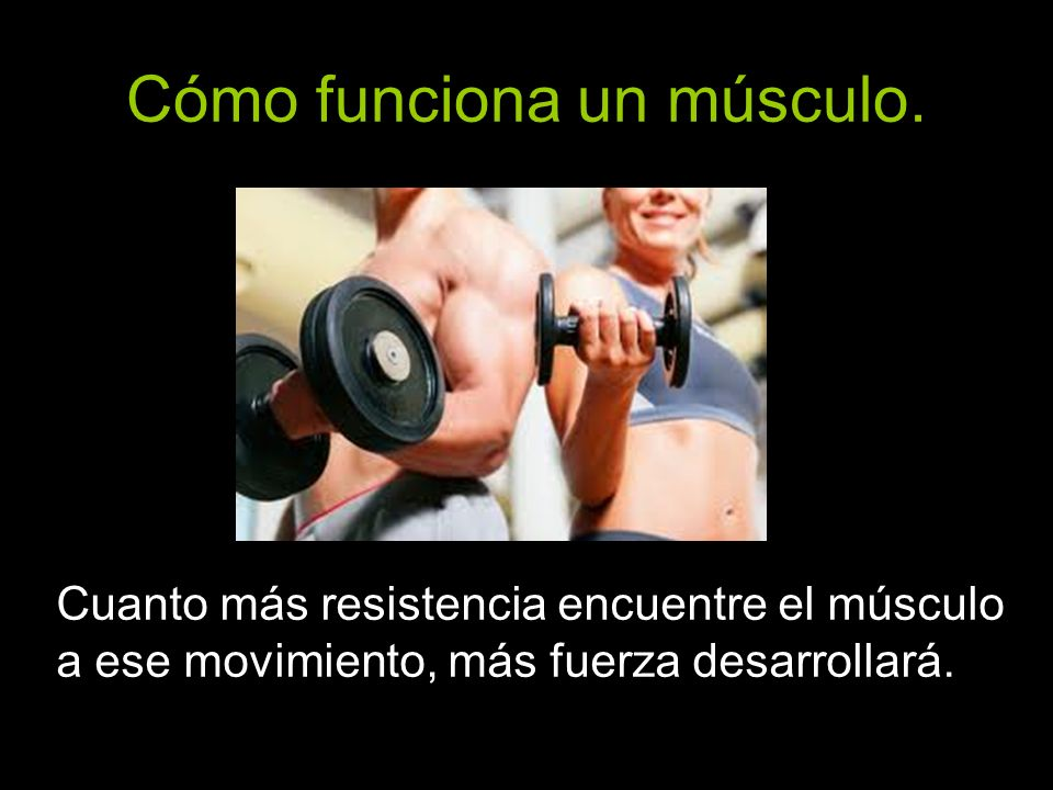 Cuanto más resistencia encuentre el músculo a ese movimiento, más fuerza desarrollará.