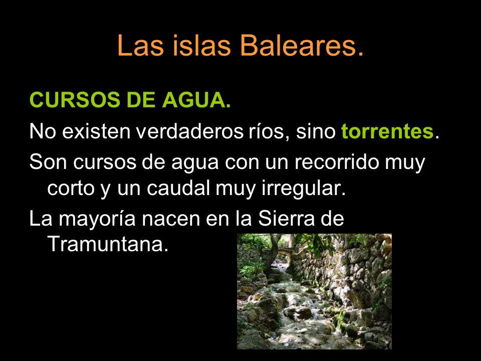 Las islas Baleares. CURSOS DE AGUA. No existen verdaderos ríos, sino torrentes. Son cursos de agua con un recorrido muy corto y un caudal muy irregula