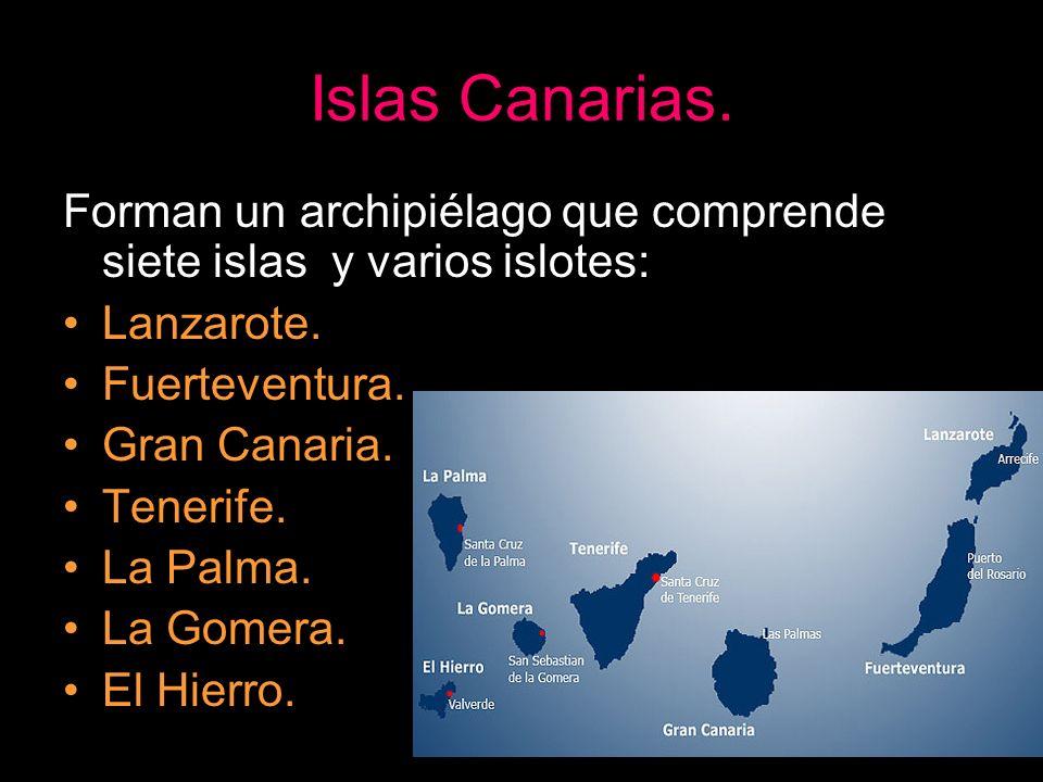 Islas Canarias. Forman un archipiélago que comprende siete islas y varios islotes: Lanzarote. Fuerteventura. Gran Canaria. Tenerife. La Palma. La Gome