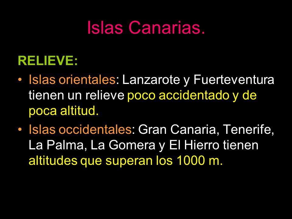 RELIEVE: Islas orientales: Lanzarote y Fuerteventura tienen un relieve poco accidentado y de poca altitud. Islas occidentales: Gran Canaria, Tenerife,