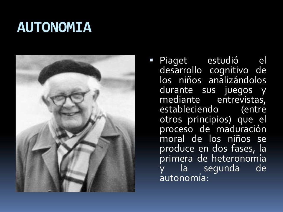 AUTONOMIA Piaget estudió el desarrollo cognitivo de los niños analizándolos durante sus juegos y mediante entrevistas, estableciendo (entre otros prin