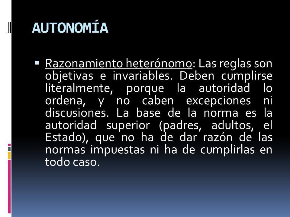 AUTONOMÍA Razonamiento heterónomo: Las reglas son objetivas e invariables. Deben cumplirse literalmente, porque la autoridad lo ordena, y no caben exc