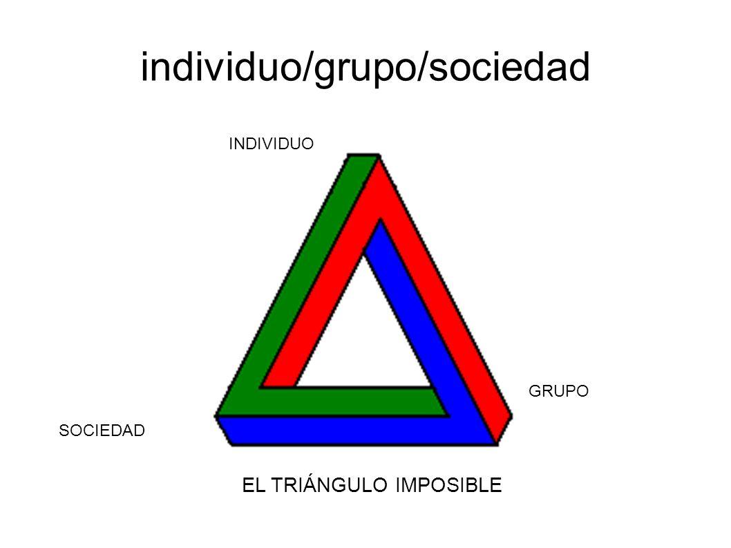 individuo/grupo/sociedad INDIVIDUO GRUPO SOCIEDAD EL TRIÁNGULO IMPOSIBLE