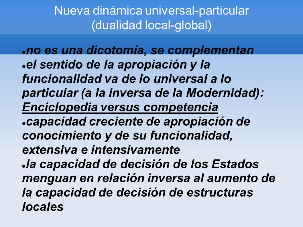 Nueva dinámica universal-particular (dualidad local-global) no es una dicotomía, se complementan el sentido de la apropiación y la funcionalidad va de