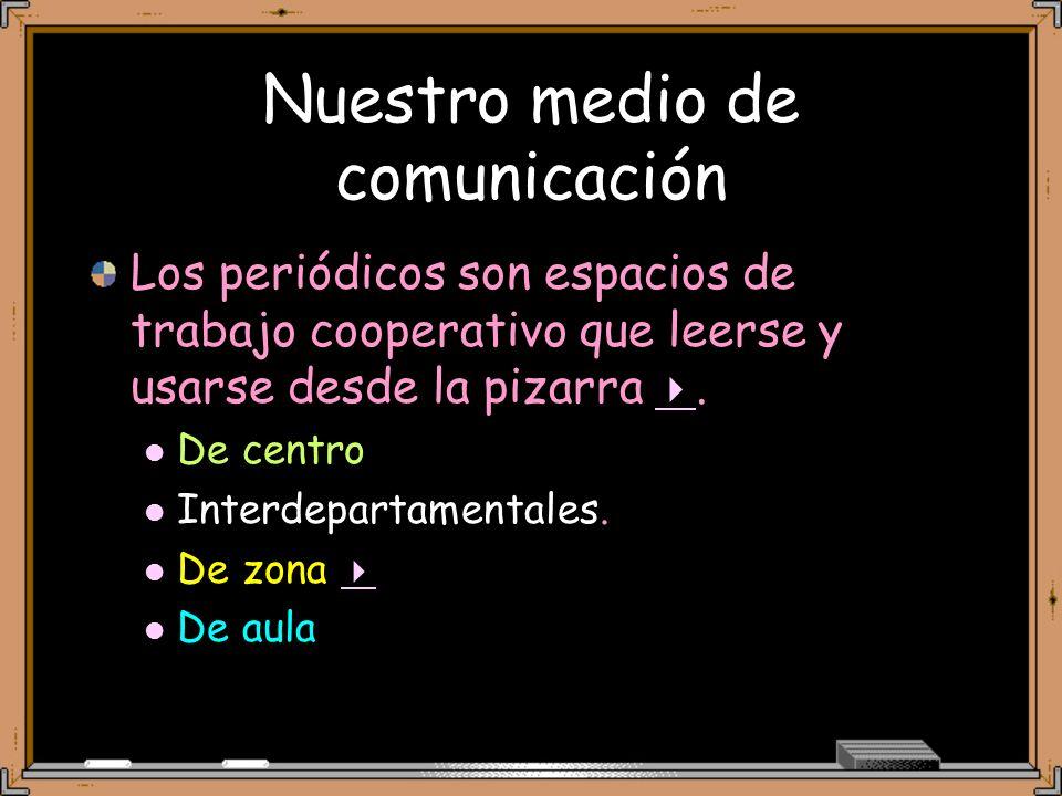 Nuestro medio de comunicación Los periódicos son espacios de trabajo cooperativo que leerse y usarse desde la pizarra.