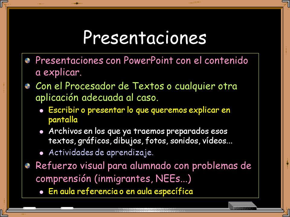 Presentaciones Presentaciones con PowerPoint con el contenido a explicar.