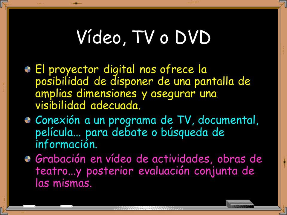 Vídeo, TV o DVD El proyector digital nos ofrece la posibilidad de disponer de una pantalla de amplias dimensiones y asegurar una visibilidad adecuada.