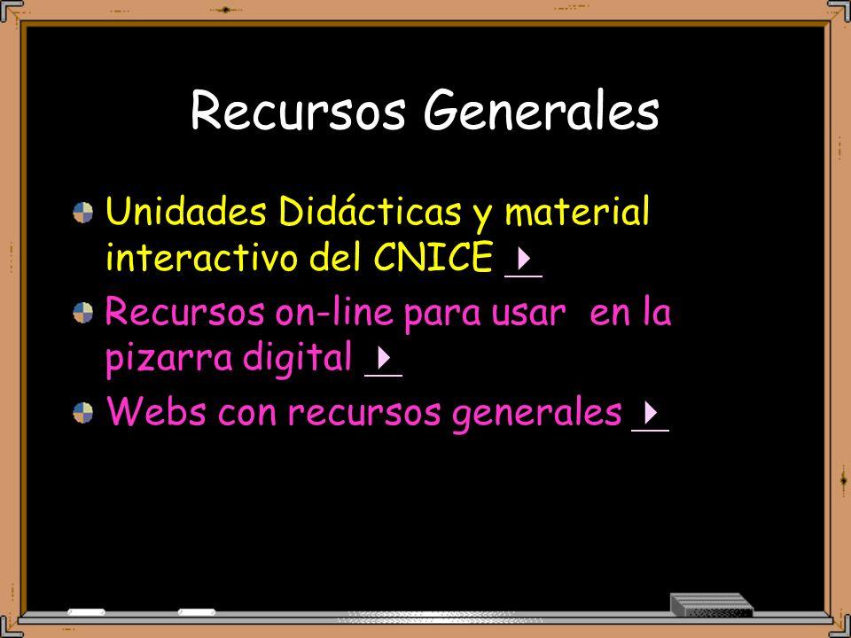 Recursos Generales Unidades Didácticas y material interactivo del CNICE Recursos on-line para usar en la pizarra digital Webs con recursos generales