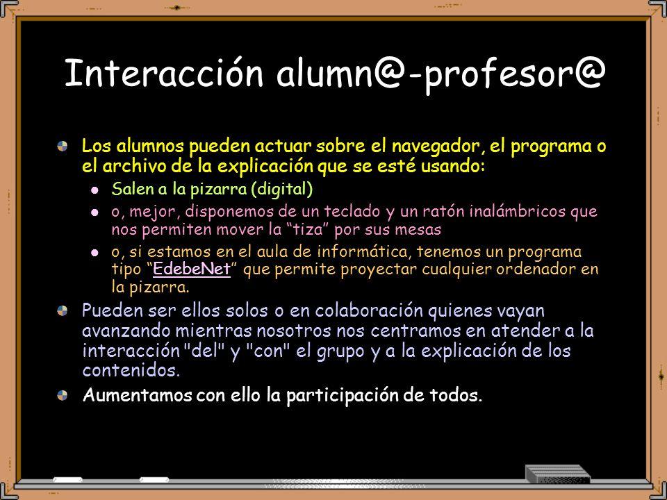 Presentación de trabajos (1) Los Trabajos de los alumnos se podrían presentar a sus compañeros mediante sencillas aplicaciones informáticas que dominan rápidamente y con poca ayuda.