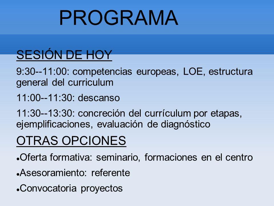 PROGRAMA SESIÓN DE HOY 9:30--11:00: competencias europeas, LOE, estructura general del curriculum 11:00--11:30: descanso 11:30--13:30: concreción del currículum por etapas, ejemplificaciones, evaluación de diagnóstico OTRAS OPCIONES Oferta formativa: seminario, formaciones en el centro Asesoramiento: referente Convocatoria proyectos