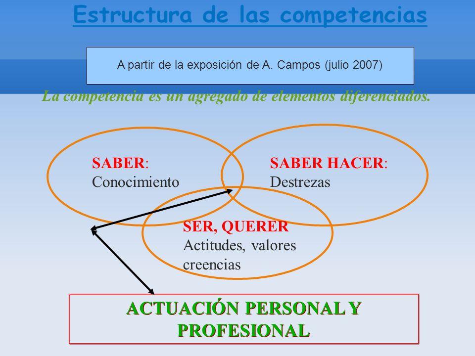 A partir de la exposición de A. Campos (julio 2007) La competencia es un agregado de elementos diferenciados. ACTUACIÓN PERSONAL Y PROFESIONAL SABER: