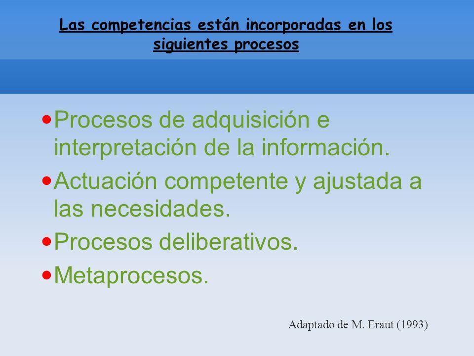 Las competencias están incorporadas en los siguientes procesos Procesos de adquisición e interpretación de la información.