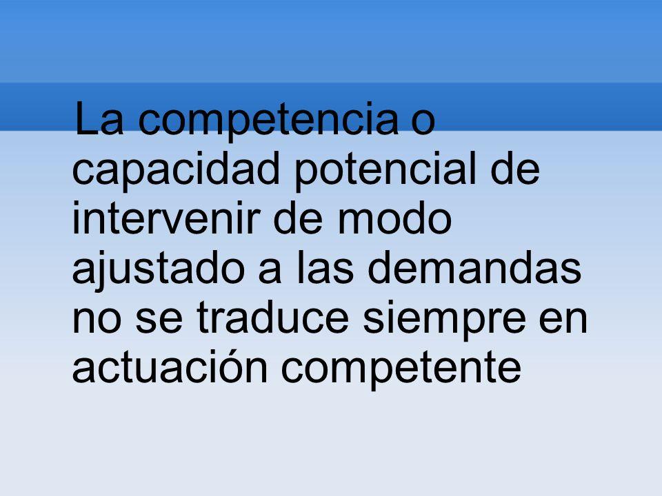 La competencia o capacidad potencial de intervenir de modo ajustado a las demandas no se traduce siempre en actuación competente