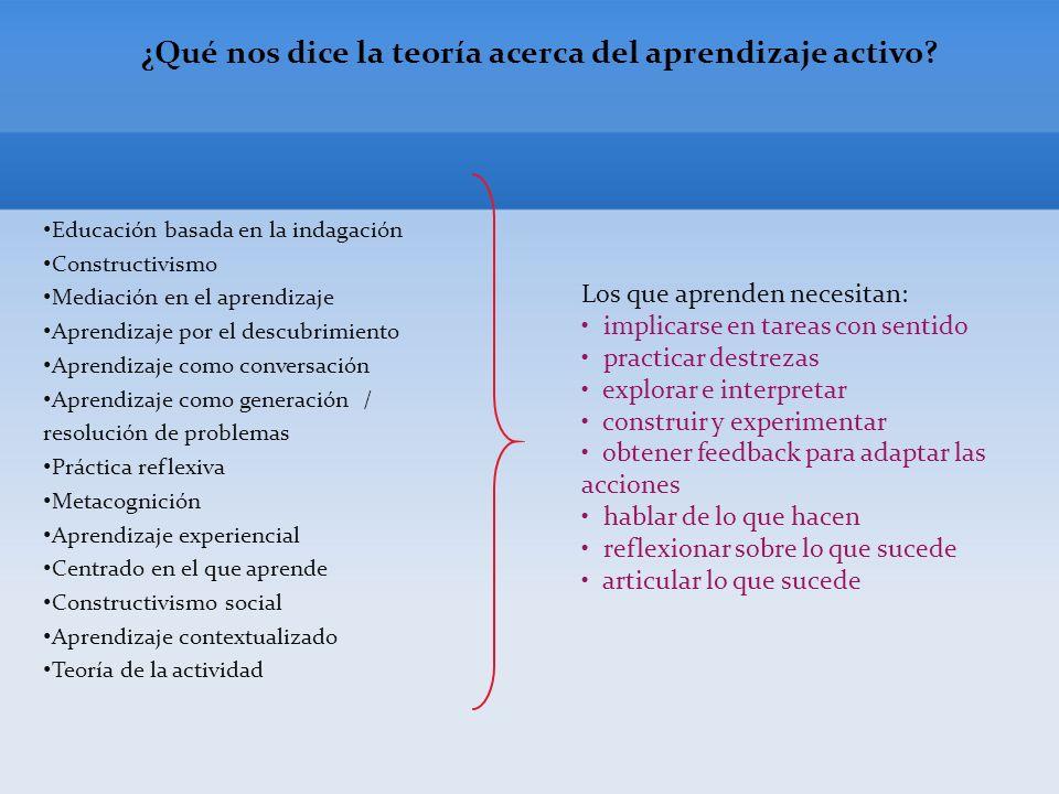 ¿Qué nos dice la teoría acerca del aprendizaje activo.