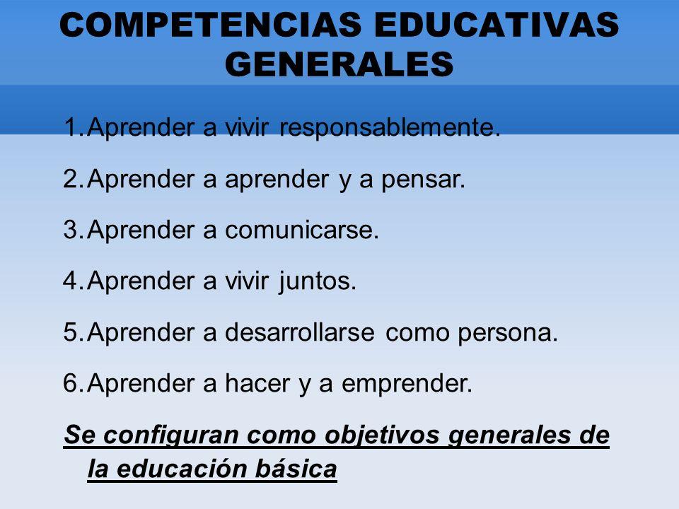 COMPETENCIAS EDUCATIVAS GENERALES 1.Aprender a vivir responsablemente.
