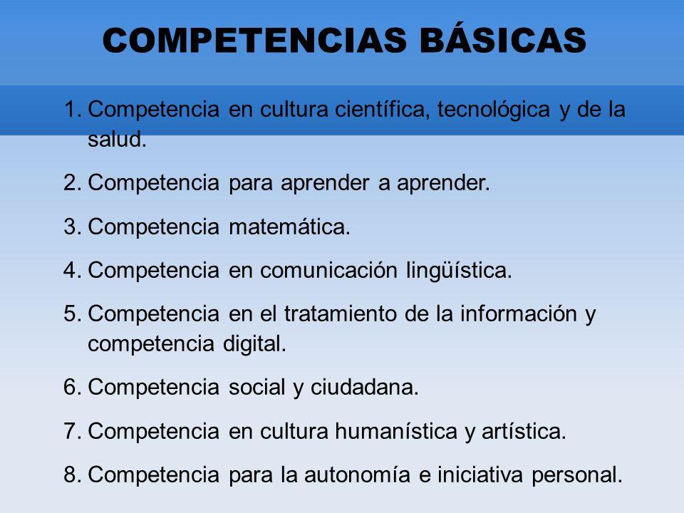 COMPETENCIAS BÁSICAS 1.Competencia en cultura científica, tecnológica y de la salud.