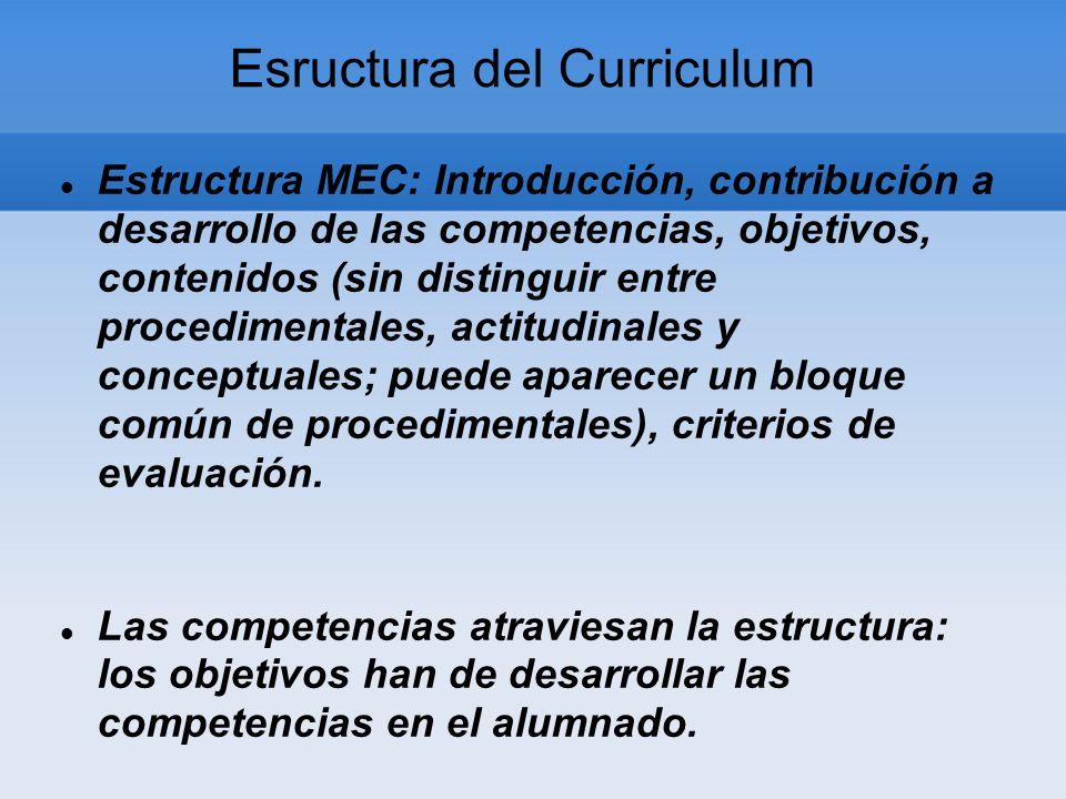 Esructura del Curriculum Estructura MEC: Introducción, contribución a desarrollo de las competencias, objetivos, contenidos (sin distinguir entre procedimentales, actitudinales y conceptuales; puede aparecer un bloque común de procedimentales), criterios de evaluación.