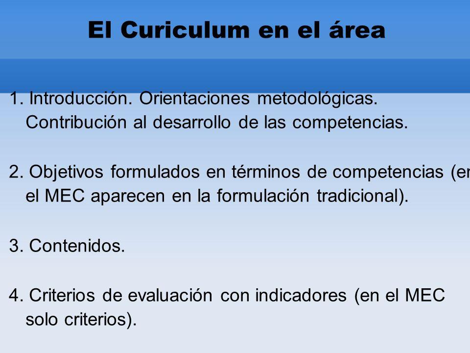 El Curiculum en el área 1. Introducción. Orientaciones metodológicas.