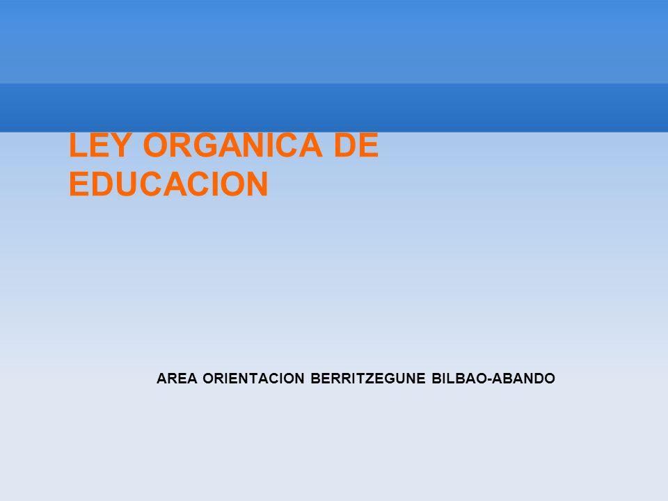 LOE- PRINCIPIOS 3 PRINCIPIOS PRESIDEN ESTA LEY: 1- CONCILIACION CALIDAD Y EQUIDAD EN EL REPARTO Educación de calidad para todos los ciudadanos de ambos sexos, en todos los niveles del sistema educativo 2- ESFUERZO COMPARTIDO Necesidad de que todos los componentes de la comunidad educativa (familias, alumnado, centros, profesorado, Administraciones educativas y sociedad en general) colaboren en el objetivo anterior 3- COMPROMISO CON LOS OBJETIVOS EDUCATIVOS COMUNES DE LA UNION EUROPEA, en la línea de un proceso de convergencia entre los sistemas de educación y formación.