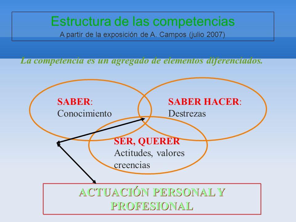 Estructura de las competencias A partir de la exposición de A. Campos (julio 2007) La competencia es un agregado de elementos diferenciados. ACTUACIÓN
