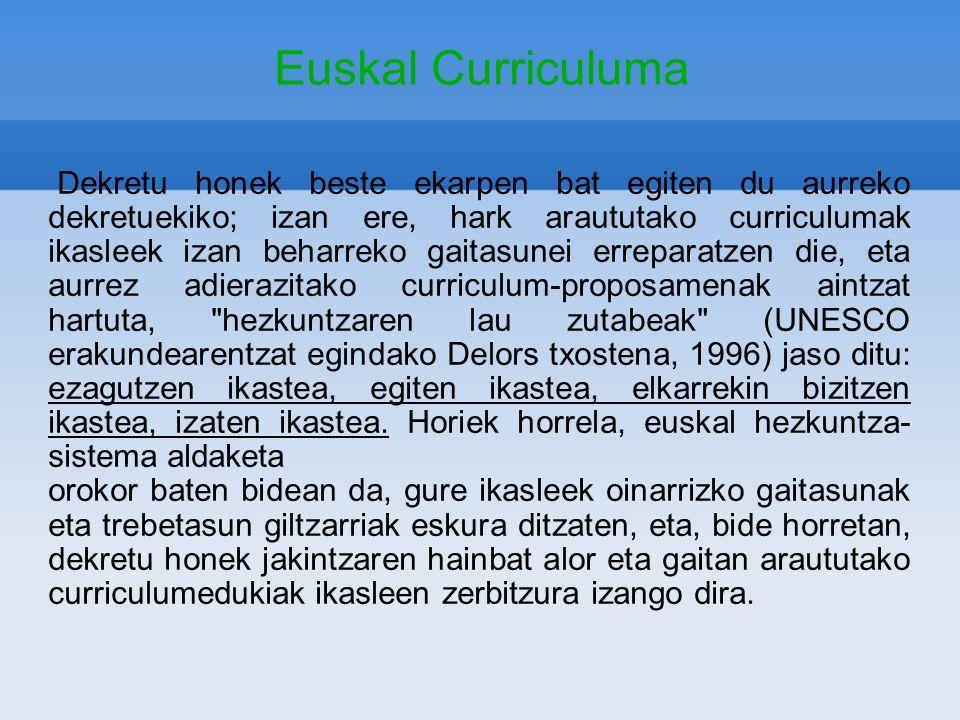 Euskal Curriculuma Dekretu honek beste ekarpen bat egiten du aurreko dekretuekiko; izan ere, hark araututako curriculumak ikasleek izan beharreko gait