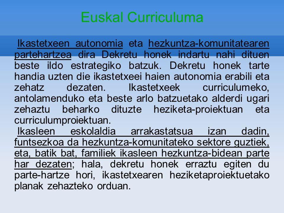 Euskal Curriculuma Ikastetxeen autonomia eta hezkuntza-komunitatearen partehartzea dira Dekretu honek indartu nahi dituen beste ildo estrategiko batzu