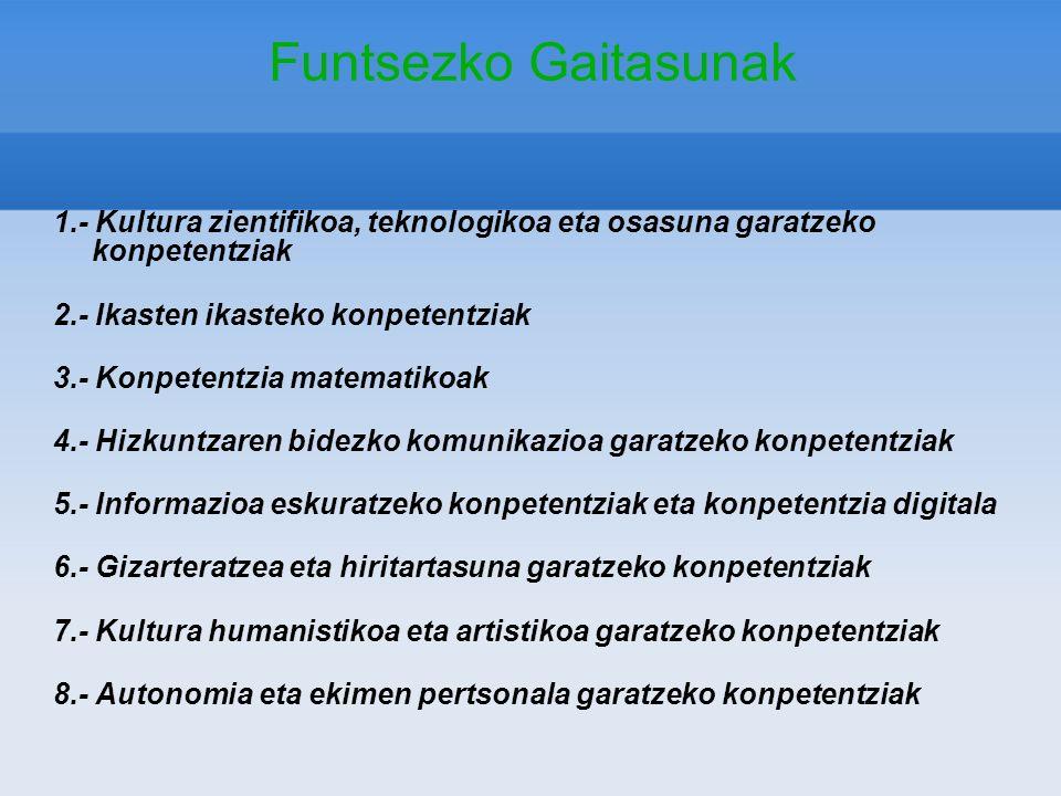 Funtsezko Gaitasunak 1.- Kultura zientifikoa, teknologikoa eta osasuna garatzeko konpetentziak 2.- Ikasten ikasteko konpetentziak 3.- Konpetentzia mat