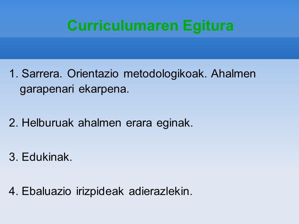 Curriculumaren Egitura 1. Sarrera. Orientazio metodologikoak. Ahalmen garapenari ekarpena. 2. Helburuak ahalmen erara eginak. 3. Edukinak. 4. Ebaluazi