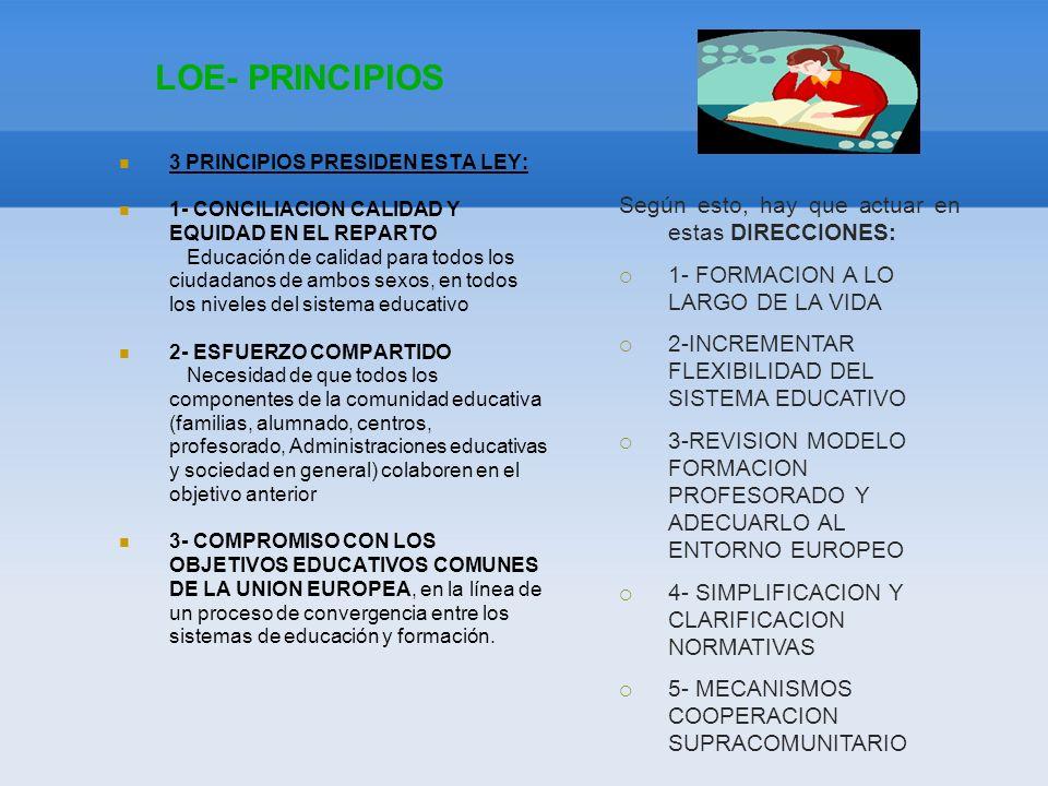 LOE- PRINCIPIOS 3 PRINCIPIOS PRESIDEN ESTA LEY: 1- CONCILIACION CALIDAD Y EQUIDAD EN EL REPARTO Educación de calidad para todos los ciudadanos de ambo