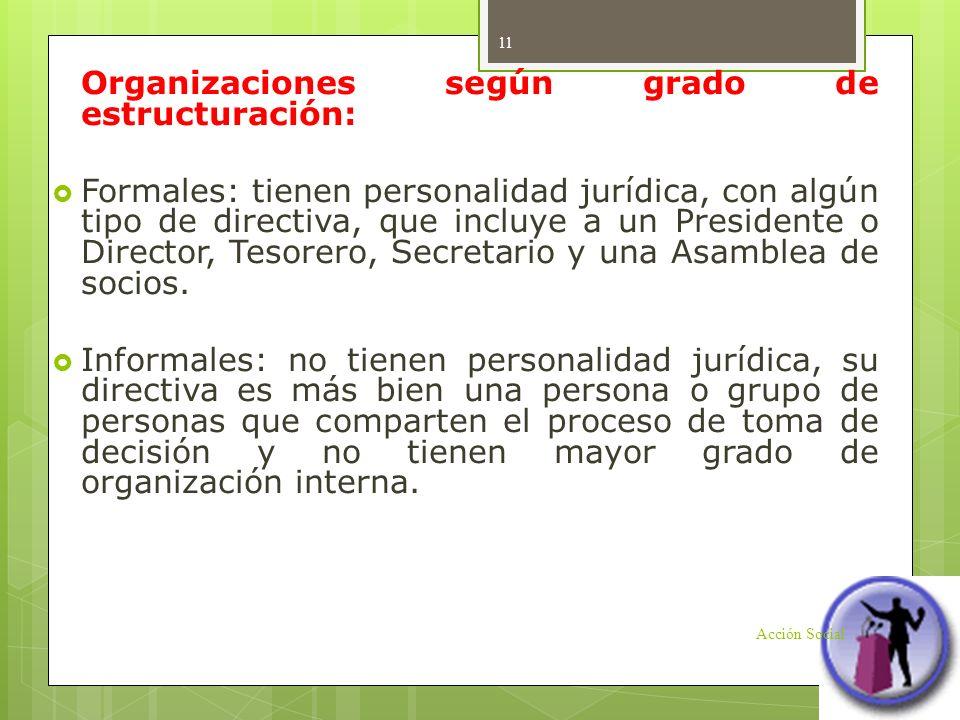 Organizaciones según grado de estructuración: Formales: tienen personalidad jurídica, con algún tipo de directiva, que incluye a un Presidente o Direc