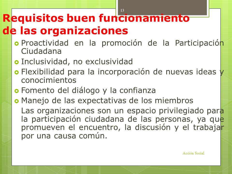 Requisitos buen funcionamiento de las organizaciones Proactividad en la promoción de la Participación Ciudadana Inclusividad, no exclusividad Flexibil