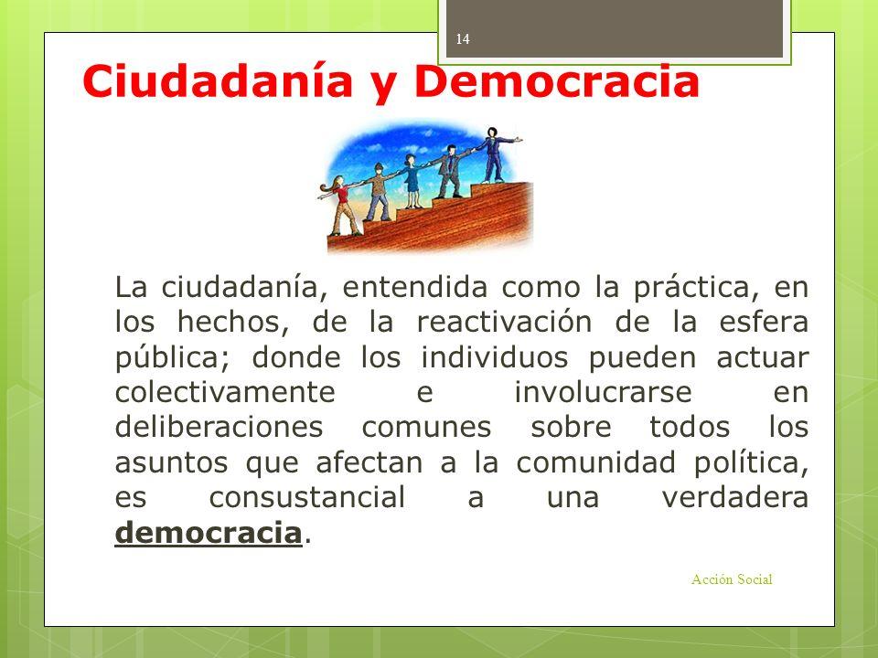 Ciudadanía y Democracia La ciudadanía, entendida como la práctica, en los hechos, de la reactivación de la esfera pública; donde los individuos pueden